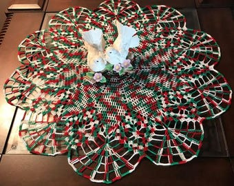 Red, Green and White Doily