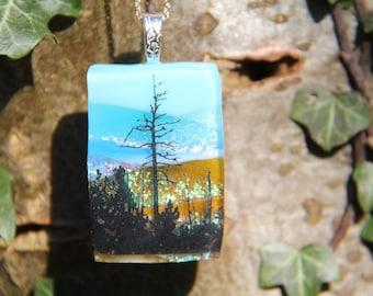 Mountain view dichroic pendant  ,dichroic glass necklace,  fused glass necklace, fused glass pendant, multi-coloured dichroic, gift