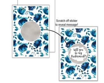 Silver Blue Roses Will You Be My?... Scratch Off Card, Will you be my Bridesmaid, Will you be my Maid of Honour, Scratch Off Greeting Card