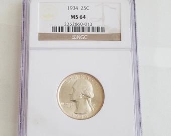 NGC Certified MS64 1934 25c Washington