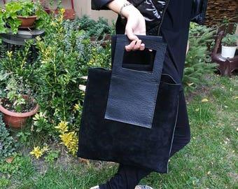 Black Suede Bag, Soft Tote Bag,   Suede Handbag, Suede Tote, Woman Suede Bag, Bags Women, stylish black bag, everyday bag, elegant black bag