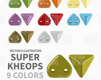 Two-Hole Super Kheops Beads Vector Clipart Set