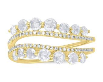Brilliant Unique 0.98ct 14k Yellow Gold Diamond Rose Cut Lady's Ring