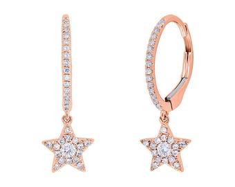 Unique 0.23ct 14k Rose Gold Diamond Star Earring, Flirty Feminine Star Earrings