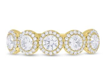 Beautiful Intricate Five Stone Diamond Engagement band, 1.25TCW 14K Yellow Gold 5 Stone Diamond Engagement Wedding Ring Band
