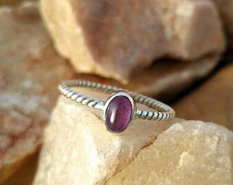 ON SALE Natural Amethyst Oval Cab Sterling Silver Twisted Band Handmade Ring - 925 Sterling Silver