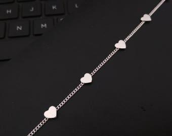 Sterling Silver Heart Charm Bracelet -  Delicate Layering Bracelet - Silver Chain Bracelet - Handmade Sterling Silver Bracelet