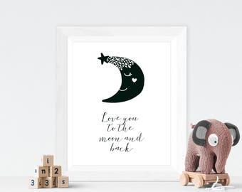 Love You To The Moon and Back, Modern Baby Wall Art, Monochrome Nursery, Scandinavian Nursery, Scandinavian Baby Nursery, Nordic Nursery Art