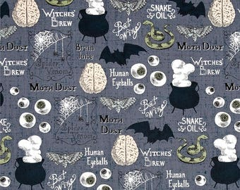 Halloween Fabric, Hocus Pocus, Witches Brew Halloween Fabric, Creepy Halloween Fabric, by Timeless Treasures