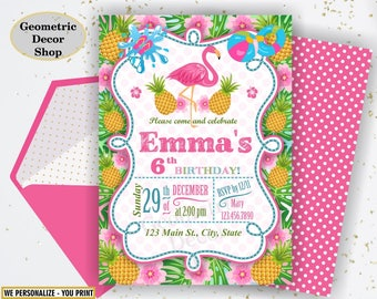 Flamingo Pineapple First Birthday Invitation 1st Any age Birthday invite Printable Luau Hawaiian Party Pink Teal Photo Photograph BDP11