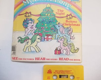 Little Pony Christmas Book, My Little Pony read along Christmas Book and Cassette Tape, rare, vintage The Night Before Christmas 1986 book