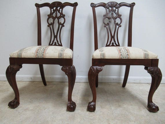 2 Ethan Allen 18th Century Mahogany Dining Side Chairs Ball Claw Chippendale B