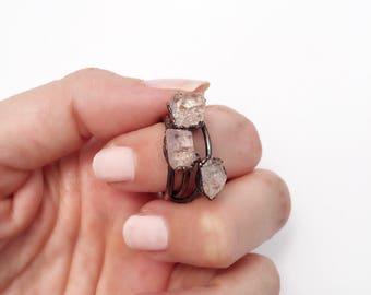 Topaz Ring, Topaz Copper Ring, Raw Topaz Ring, Bright Copper Ring, Gemstone Copper Ring, Clear Stone Ring, Antique Copper Ring