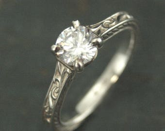 Art Nouveau Engagement Ring~Elegant Ring~Flourish Cathedral~Cathedral Solitaire~Vintage Style Engagement Ring~Antique Style Engagement Ring