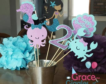 6 pc Personalized Glitter Mermaid Themed  Centerpiece