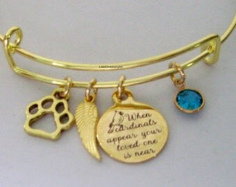 """GOLD"""" When Cardinals Appear Your Love One Is Near """"W/ Birthstone  / Feather / Paw BANGLE - Lost Of A Pet  - Personalize  Gift For Her Usa G1"""