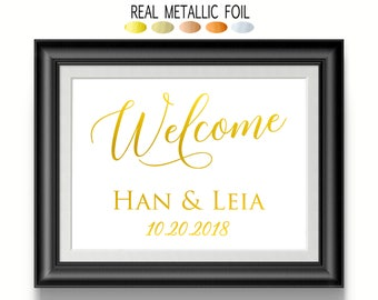 Personalized Wedding Signage, Welcome Sign, Custom Gold Wedding Decor, Bride and Groom Date Sign
