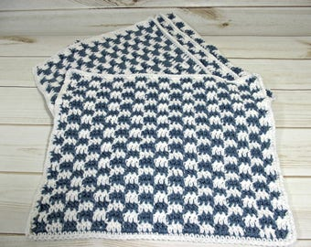 Checkered Crochet Placemats, Set of 4 Crochet place mats,  table mat, table linens