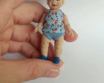 """Dollhouse OOAK baby  Art doll 2,5""""  for dollhouse 1/12 miniature"""