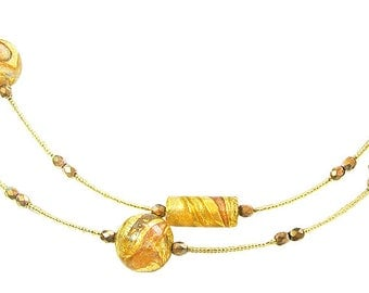Murano Glass Necklace with Gold Glass Beads 'Juliana' by Mystery of Venice, Glass Bead Necklace, Murano Glass Jewelry, Murano Glass Beads