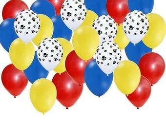 "ON SALE Paw Patrol 30 piece 11"" latex paw print balloons Birthday Party decor Supplies"
