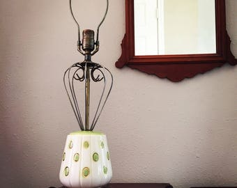 Mid-Century Modern Atomic Table Lamp Green and Gold Polka Dots Mid Mod MCM Space Age Sputnik