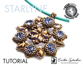 Starlyne pendant - instant download beading tutorial with GemDuo, rivoli cabochons and Miyuki Japanese seed beads