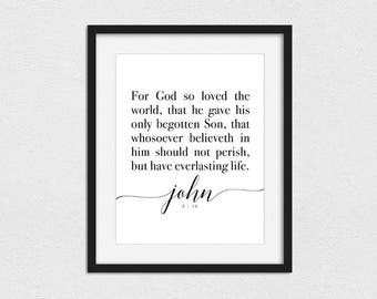 John 3:16 Printable // Instant Download // Printing Services Available // For God So Loved The World // LDS Print // Christian Print