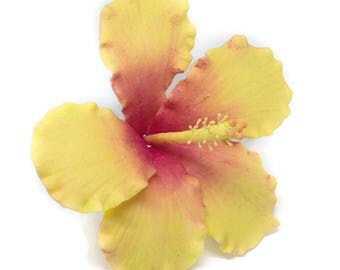 Hibiscus Sugar Flower Yellow and Pink tones for wedding cake topper, tropical wedding, diy brides, summer weddings, showers, and birthdays