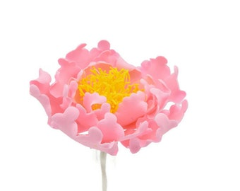 Pink and Yellow Open Peony Sugar Flower for wedding cake toppers and gumpaste decorations