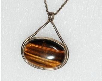 Large Tiger Eye & Sterling Silver Pendant Necklace