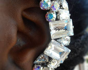 Ear Cuff in Stass of Swarovski Crystal and leather