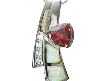 Garnet Opal Sterling Pendant with Chain