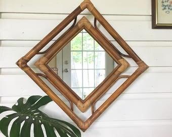Vintage Bamboo Rattan Mirror  • Bentwood  Bohemian • Boho Decor - Two Available
