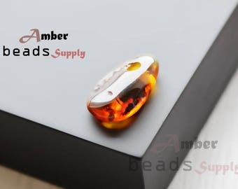 Amber pendant stone for jewelry making. 1 piece. Polished amber, Baltic amber pendant. 1865/1