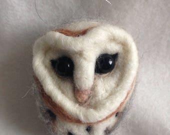 Barn Owl ooak needle felted decoration ornament gift