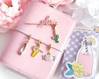 TN Charm - Traveler's Notebook Lemon | cactus Gold and Rose gold clasp. TN Charm Traveler's notebook charm Planner accessories embellishment