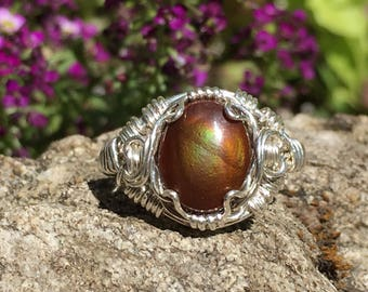 Fire Agate Ring - Fire agate Wire Wrap Ring - Size 5 1/2 - Sterling Silver Fire Agate Ring