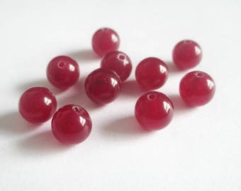 10 Burgundy 8mm natural jade beads