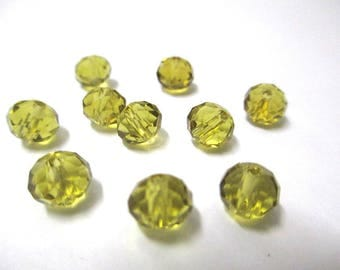 10 beads yellow faceted glass 6x8mm