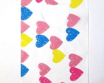 plastic handle 14x9cm multicolor heart patterned 10 bags