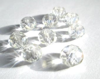 20 rondelle iridescent Crystal beads have faceted 6x8mm