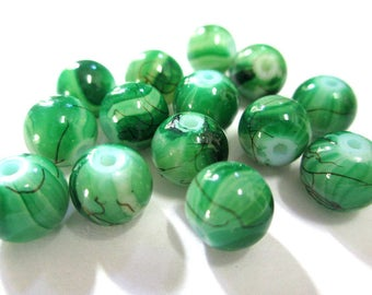 10 Brown, green painted glass 8mm beads