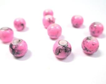 10 pink drawbench black glass beads 8mm (N-27)