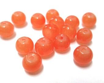20 beads orange imitation jade glass 6mm (J-15)