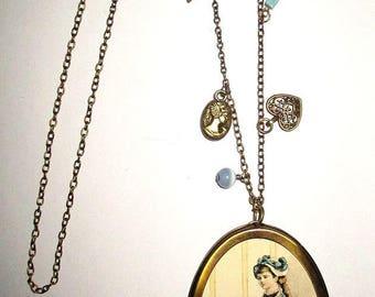 ღ retro glass pendant necklace embellished with tassels ღ