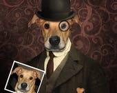 Dog portrait with suit, bowler hat, smoking pipe, Personalized pet portrait, Funny custom portrait, Commission art painting,