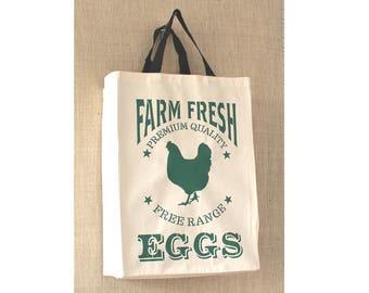 Reusable Grocery Bag, Free Shipping, Fresh Eggs, Country Decor, Eco Friendly, Canvas Bag, Farmers Market Bag, Canvas Bag