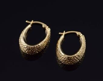 14k 20x8mm Hollow U Cross Hatch Hoop Earrings Gold