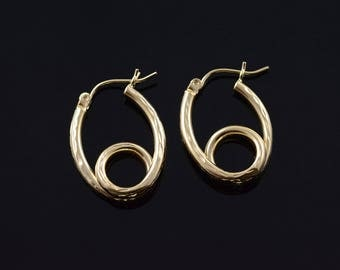 14k Hollow Hoop Knot Loop Faceted Earrings Gold